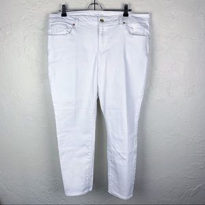 Michael Kors White Straight Leg Ankle Jeans